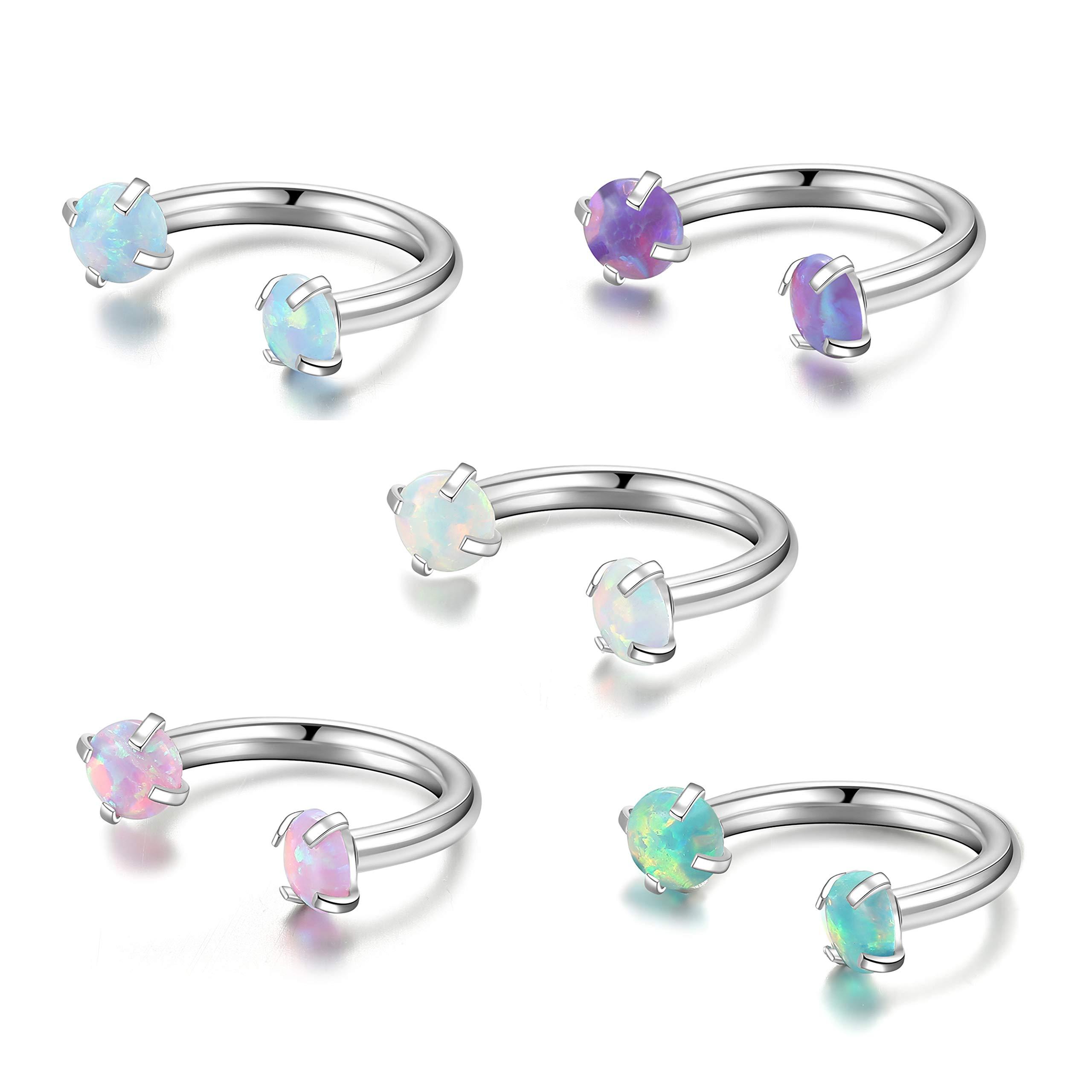 Opal Horseshoe Ring Stainless Steel 8mm 16g Ear Daith Cartilage Horseshoe Earring Piercing Jewelry for Women