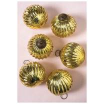 Luna Bazaar Large Mercury Glass Ball Ornaments (3-Inch, Gold, Mona Design, Set of 6) - Great Gift Idea, Vintage-Style Decorations for Christmas, Special Occasions, Home Decor and Parties