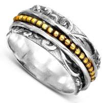 Boho-Magic 925 Sterling Silver Spinner Ring with Brass Spinning Ring for Women | Spirals Fidget Meditation Anxiety Wide Band | Statement Chunky Jewelry Size 7-10