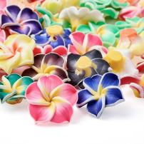Kissitty 200-Piece Random Mixed Color Handmade Polymer Clay 3D Plumeria Flower Spacer Loose Beads 20x10mm with Holes 2mm for DIY Jewelry Craft Making