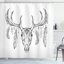"""Ambesonne Antlers Shower Curtain, Illustration of a Deer Skull with Antlers and Feathers Boho Pattern Tribal, Cloth Fabric Bathroom Decor Set with Hooks, 84"""" Long Extra, Charcoal Grey"""