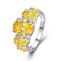 Narica Womens Silver Plated Brilliant 8x10m Oval Cut Simulated Citrine Cocktail Party Ring Engagement Band Size 6