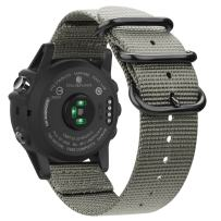 Fintie Band Compatible with Garmin Fenix 5X Plus/Tactix Charlie Watch, 26mm Premium Woven Nylon Adjustable Replacement Strap Compatible with Fenix 5X / 5X Plus / 3/3 HR Smartwatch, Gray