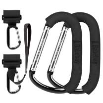 Baby Stroller Hooks, 2 Pack Stroller Clips with Adjustable Velcro Strap & 2 Pack X-Large Carabiner Stroller Hooks for Multi Purpose, Perfect Suit for Stroller Organizer, Baby Diaper Bags
