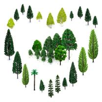 OrgMemory 29pcs Mixed Model Trees, 1.5-6 inch(4 -16 cm), Ho Scale Trees, Diorama Trees, Plastic Trees for Projects, Model Train Scenery with No Bases