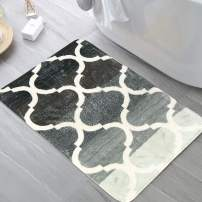 HAOCOO Bathroom Rugs 18x25 inch Moroccan Geometric Velvet Bath Mat Non-Slip Tribal Style Door Carpet Soft Luxury Microfiber Machine-Washable Floor Rug for Doormats Tub Shower