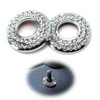 iJDMTOY (2) Bling Crystal Decor Alloy Door Lock Knob Ring Covers Compatible With MINI Cooper R55 R56 R57 R58 R59 R60, etc