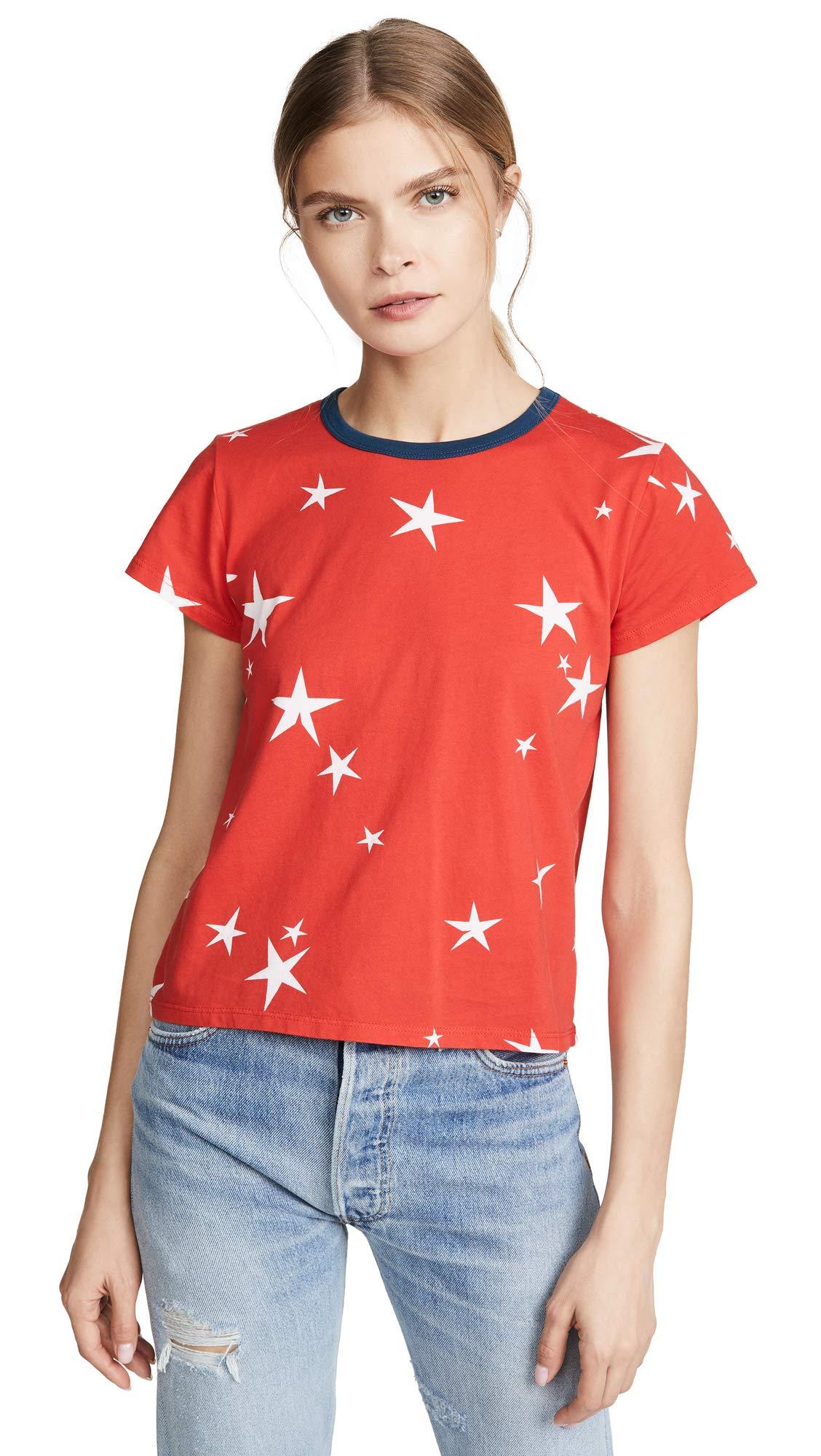 Pam & Gela Women's Star Print Logo Crop Tee