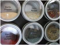 Culinarian Magnetic Spice Rack-48 Applause Clear Lid Round Magnetic Spice Tins (Choose 4 or 6 oz), Colored or Stainless Steel Versa-Board Magnet Panel, 150 Clear Printed Spice Labels & 30 Blank Labels