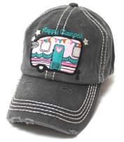 Women's Baseball Cap Cute Happy Camper Monogram Embroidery Design Hat, Grey