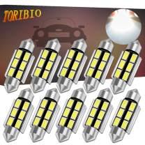 TORIBIO 39mm LED Bulbs White Super Bright LED Interior Car Lights Error Free CANBUS 6-SMD 5730 Chipsets Pack 10