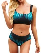 Yanekop Womens Two Piece High Waisted Swimsuits Push Up Halter Bikini Striped Padded Bathing Suits