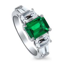 BERRICLE Rhodium Plated Sterling Silver Emerald Cut Cubic Zirconia CZ 3-Stone Anniversary Engagement Ring 4.09 CTW