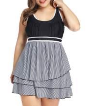 LALAGEN Womens Plus Size Racerback Tankini Swimdress Two Piece Swimwear Swimsuit