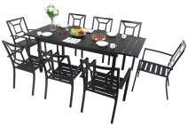 MFSTUDIO 9-Piece Metal Outdoor Patio Dining Set with 8 Wrought Iron Stackable Chairs and 1 Expandable Rectangle Black Table for Porch, Deck, Garden, Courtyard, Indoor