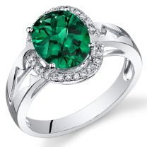 Peora 14K White Gold Oval Created Emerald Diamond Ring (2.15 cttw)