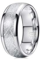 THREE KEYS JEWELRY 4mm 6mm 8mm Tungsten Wedding Ring Imitated Meteorite Silver Polished Band