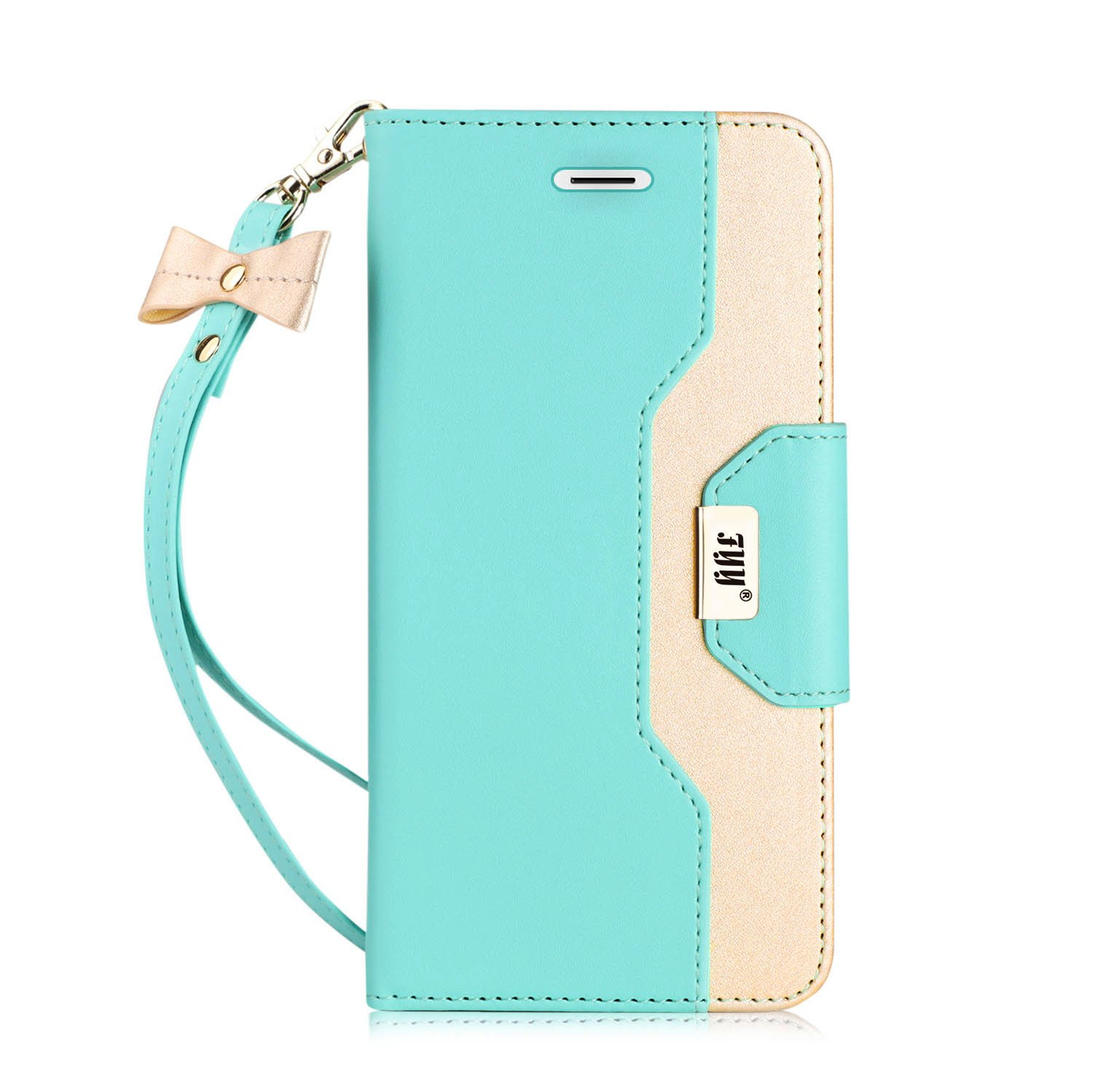 FYY Leather Case with Mirror for iPhone 6S Plus/iPhone 6 Plus, Leather Wallet Flip Folio Case with Mirror and Wrist Strap for iPhone 6S Plus/6 Plus Mint Green