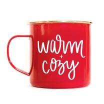 Sweet Water Decor Festive Coffee Mug | 18oz Galvanized Steel Rustic Campfire Style Coffee or Tea Cup For Hot or Cold Drinks (Warm and Cozy)