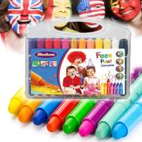 Face Paint Crayons for Kids and Adult, 12 Pens, One Brushes, Professional Body Paint Kits, Smooth, Safe, Non-Toxic, Easy to Apply and Wash Off, Face Painting Set for Christmas, Halloween, Party
