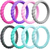 ThunderFit Womens Thin Swivel Wedding Bands - Stackable Silicone Wedding Rings - 2.5mm Wide - 2mm Thick