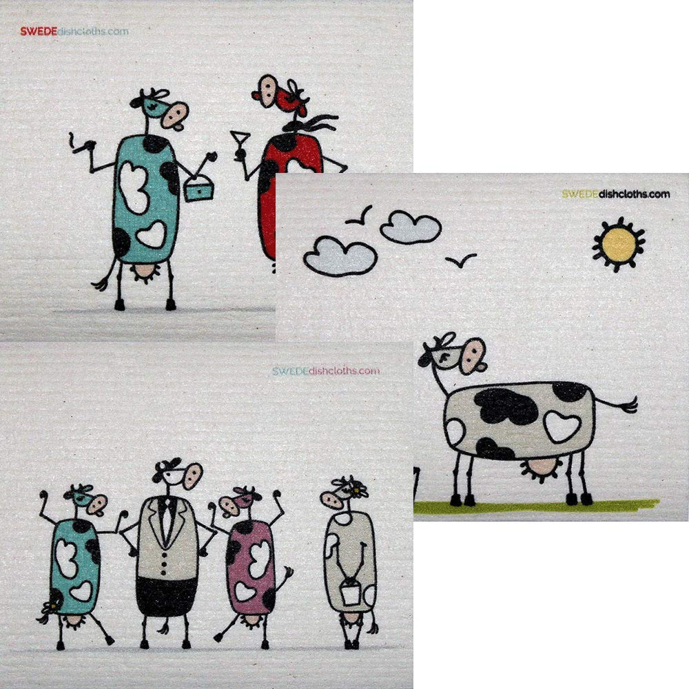 Mixed Fun Cow Set of 3 Cloths (one of Each Design) Swedish Dishcloths | ECO Friendly Absorbent Cleaning Cloth | Reusable Cleaning Wipes