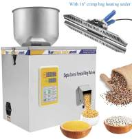 "Hanchen Powder Filling Machine, 100g Particle Weighing Filling Machine Dual Control Powder Filler for Pills Hardware Tea Seeds Beans Spices Grains Powder with Crimp Bag Heating Sealer (110v, 16"")"