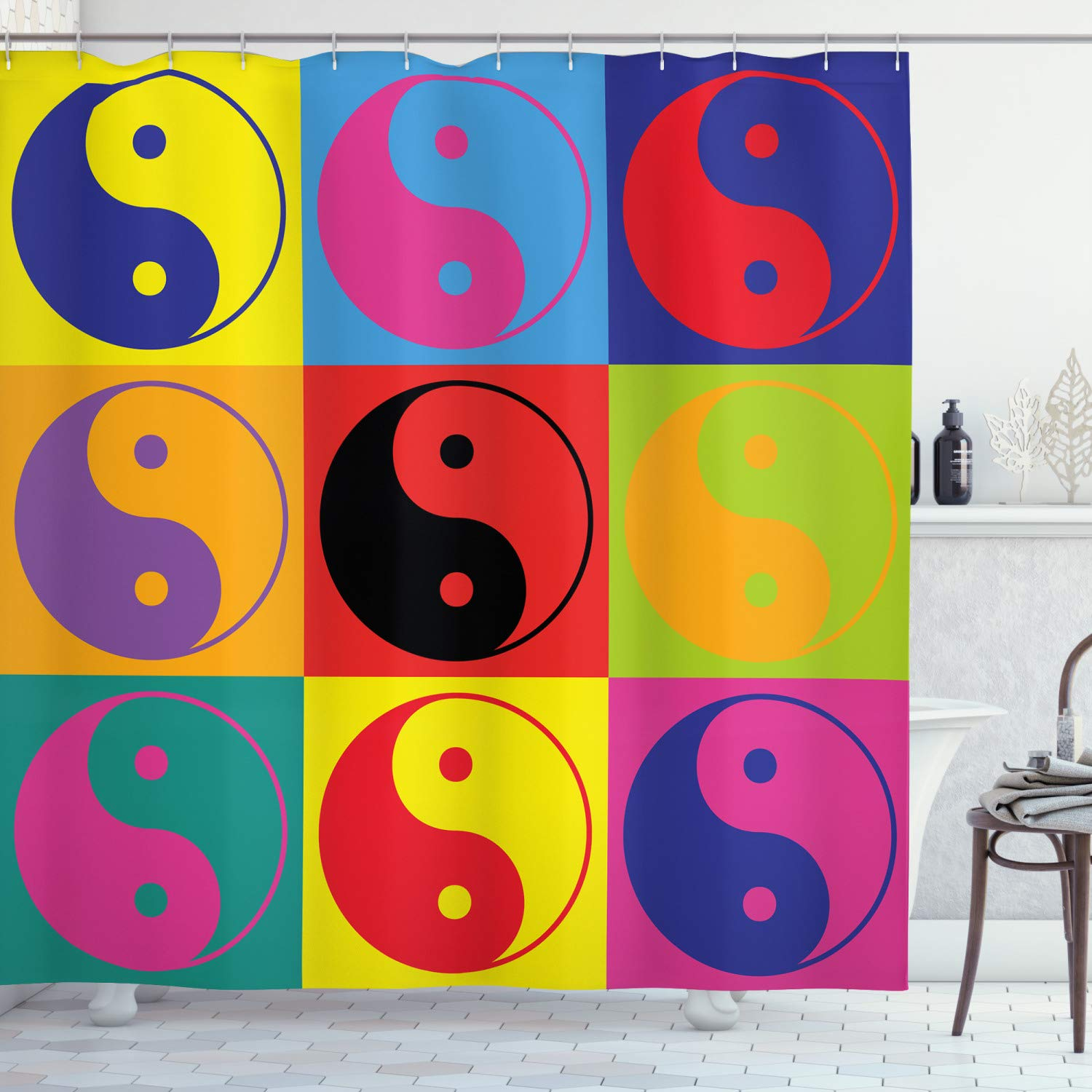 """Ambesonne Ying Yang Shower Curtain, Pop Art Design Yin Yang Signs Hippie Style Eastern Peace and Balance Theme, Cloth Fabric Bathroom Decor Set with Hooks, 84"""" Long Extra, Red Yellow"""