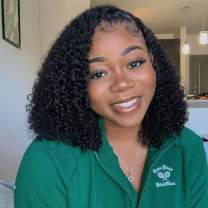 Short Bob Wigs Brazilian Kinky Curly Human Hair Lace Front Wigs Wet and Wavy Lace Wigs Pre Plucked with Baby Hair 12 Inches for Black Women Free Part Natural Black
