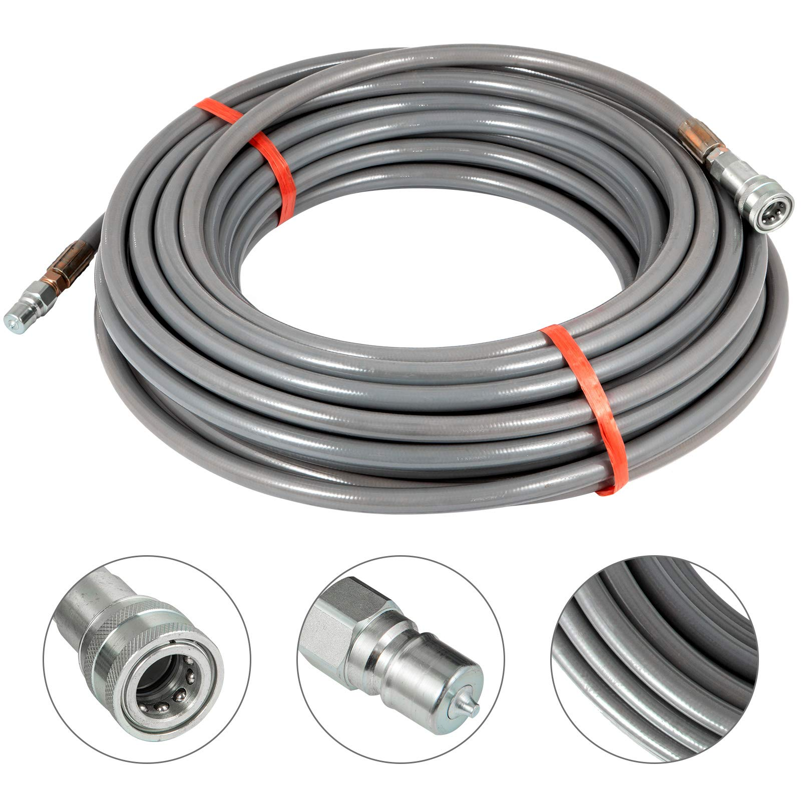 Happybuy 3/8 Inch Pressure Washer Hose 150Ft Power Washer Hose 4500 PSI Carpet Cleaning Hose for Cold Water Replacement Extension Hose