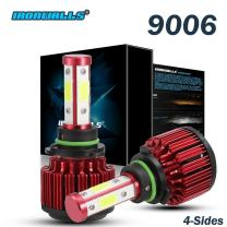 IRONWALLS F-X6 Series 2PCS 9006 LED Headlight Fog Light Bulbs All-in-One Conversion Kit 80W 9600LM 6500K COB Chips Super Bright White