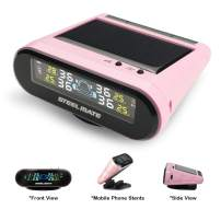 STEEL MATE Solar Power Tire Pressure Monitoring System, 6 Alarm Modes,Support Car Bracket Function, Auto Backlight & Smart LCD Display, Auto Sleep Mode, with 4 External Tpms Sensor (Pink)