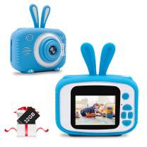 JUNEU Kids Camera Toy for Boys Girls, 20MP HD Digital Video Camera with 32GB SD Card, Birthday Gifts for 3 4 5 6 7 8 9 10 Year Old Children