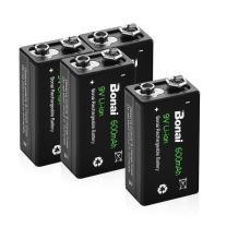 Bonai Rechargeable 9V Batteries 600mAh High Capacity 9V Rechargeable Batteries,(4 Pack) 9 Volt Lithium Batteries for Smoke Alarms Metal Detector etc - Long-Lasting & Economical