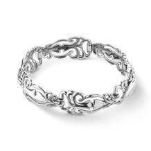 Carolyn Pollack Sterling Silver Open Filigree Convex Link Bracelet Size S, M or L