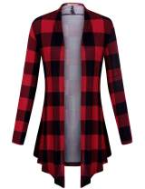 Cestyle Women's Plaid Long Sleeve Casual Draped Lightweight Open Front Cardigan