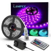 LED Strip Lights, Lampee 16.4ft 12V Flexible RGB Lights Color Changing, 5050 SMD Rope Light Kit with Remote Controller and 150 LEDs for Home, Kitchen, Bedroom, DIY Decoration