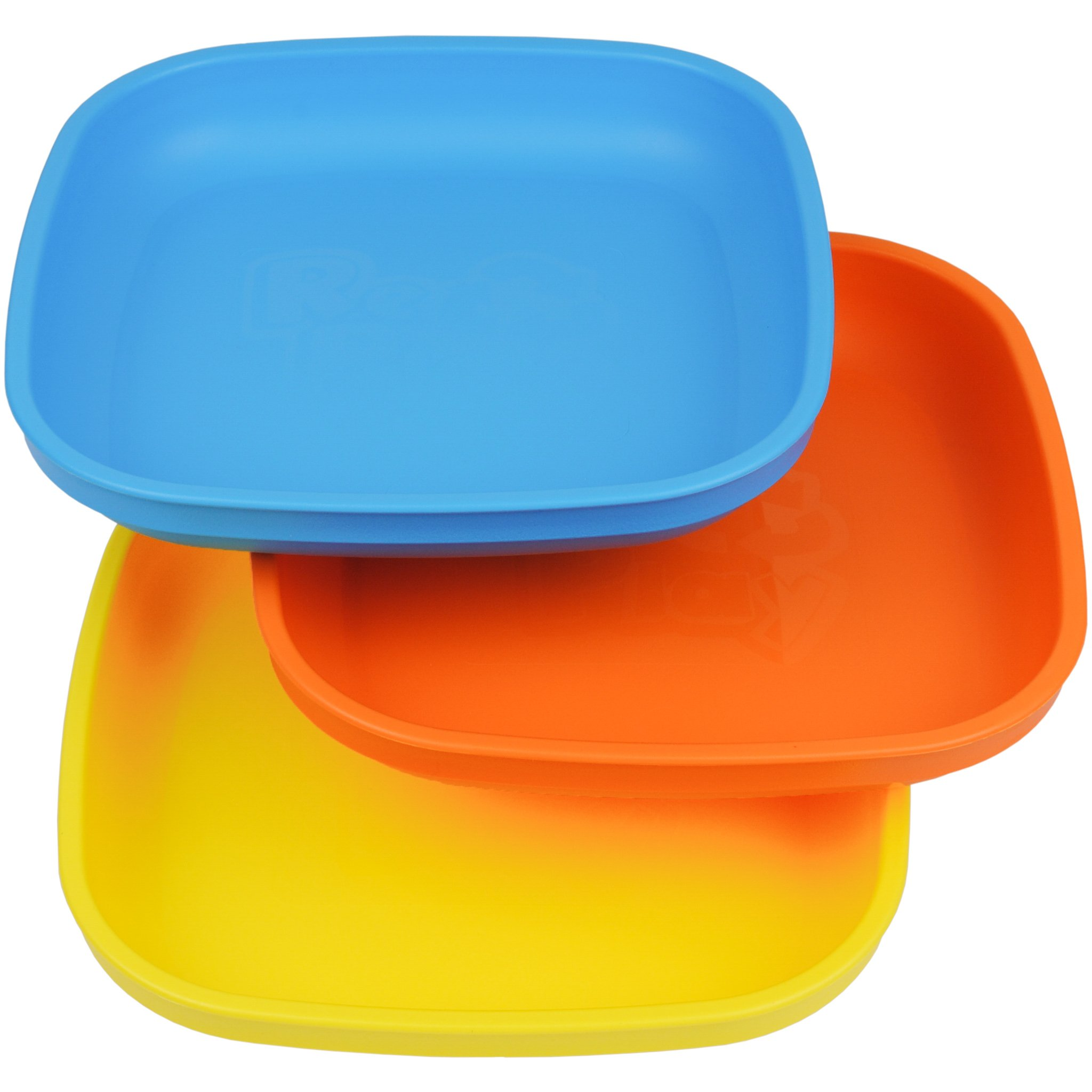 Re-Play Made in USA 3pk Plates with Deep Sides for Easy Baby, Toddler, Child Feeding - Sky Blue, Orange & Yellow (Spring)