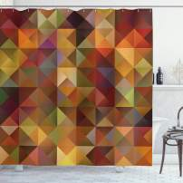 """Ambesonne Colorful Shower Curtain, Abstract Art Grid Mosaic Geometric Creative Image Triangle Artwork Print, Cloth Fabric Bathroom Decor Set with Hooks, 75"""" Long, Brown and Marigold"""