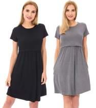 Bearsland Women's Short Sleeves Maternity Dress Nursing Breastfeeding Dresses with Pockets,Black+Gray,XL