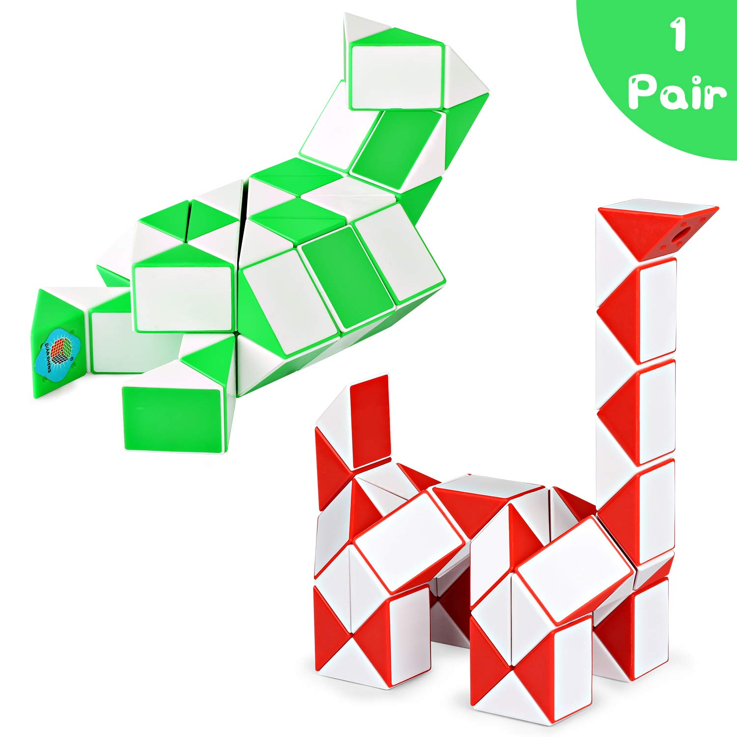 Ganowo 48 Wedges Fidget Snake Cube Magic Twist Puzzle Sensory Toys Brain Teaser Games Collections Birthday Gifts Party Favors Easter Basket Stuffers for Kids Adults Teens