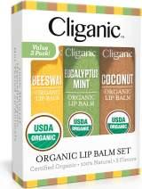 Cliganic USDA Organic Lip Balm Set - 3 Flavors - 100% Natural Moisturizer for Cracked & Dry Lips