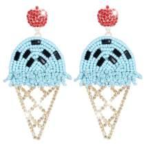 Ice Cream Statement Drop Earrings Beaded Food Earrings - Handmade Crystal Summer Earrings Cool Jewelry for Women