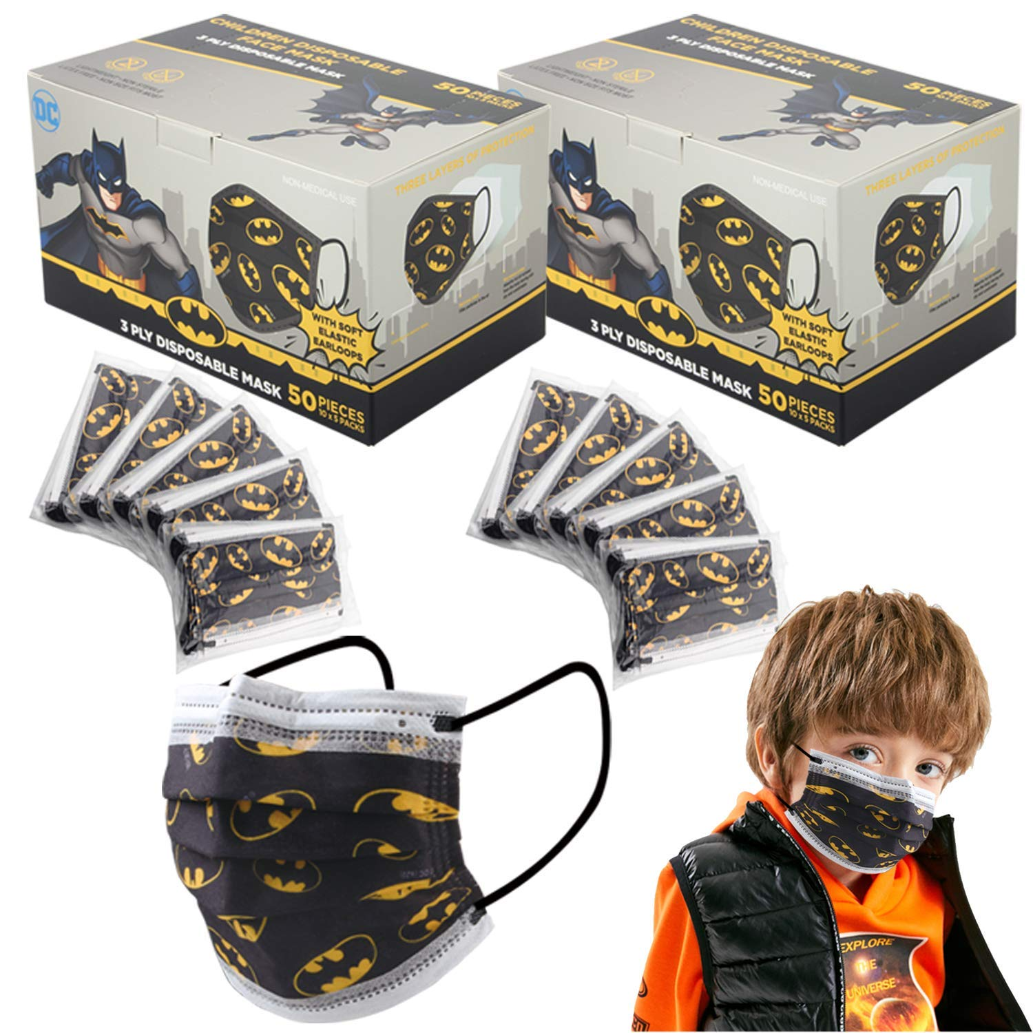 DC KIDS MASK DISPOSABLE 3 PLY, Age 3 - 12, SHIP FROM USA