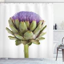 "Lunarable Artichoke Shower Curtain, Close-Up Organic Artichoke Image with Thistles for Vegetarian Healthy Food Theme, Cloth Fabric Bathroom Decor Set with Hooks, 75"" Long, Green Purple"