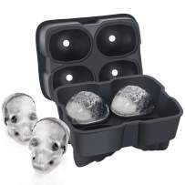 SAWNZC Ice Cube Trays Skull Ice Cube Molds Large Size Silicone Flexible 4 Cavity Ice Maker for Chilling Whiskey Cocktails, Funnel Included, Easy Release