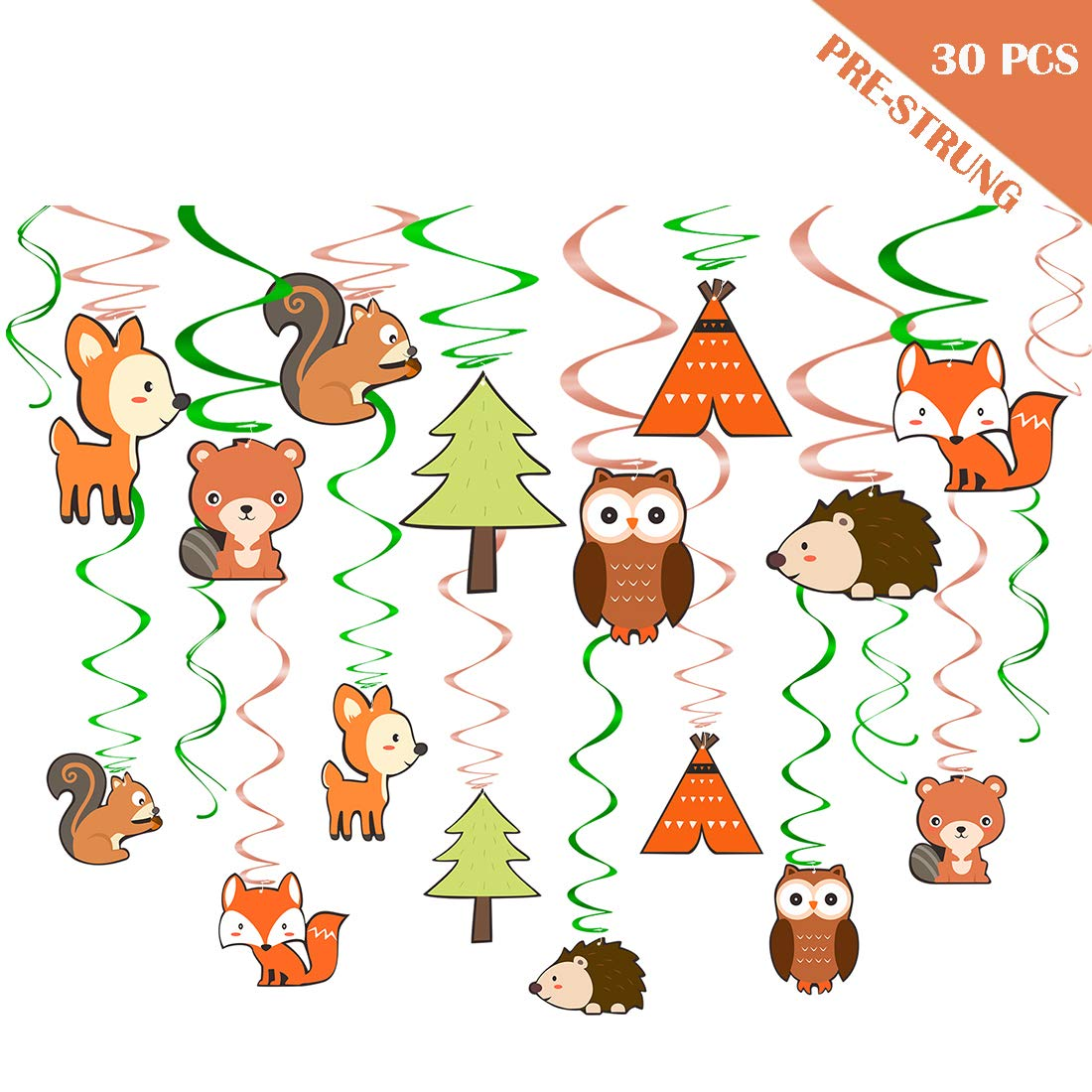 Yaaaaasss! Woodland Animals Hanging Swirl Decorations 30 Ct Forest Friends Birthday/Camping Party Supplies, Woodland Creatures Baby Shower Theme Decoration for Boy/Girl