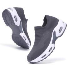 PromArder Women's Running Shoes Breathable Walking Shoes Sock Sneakers Slip on Mesh Platform Air Cushion Comfortable Tennis Shoes Fashion Sneakers