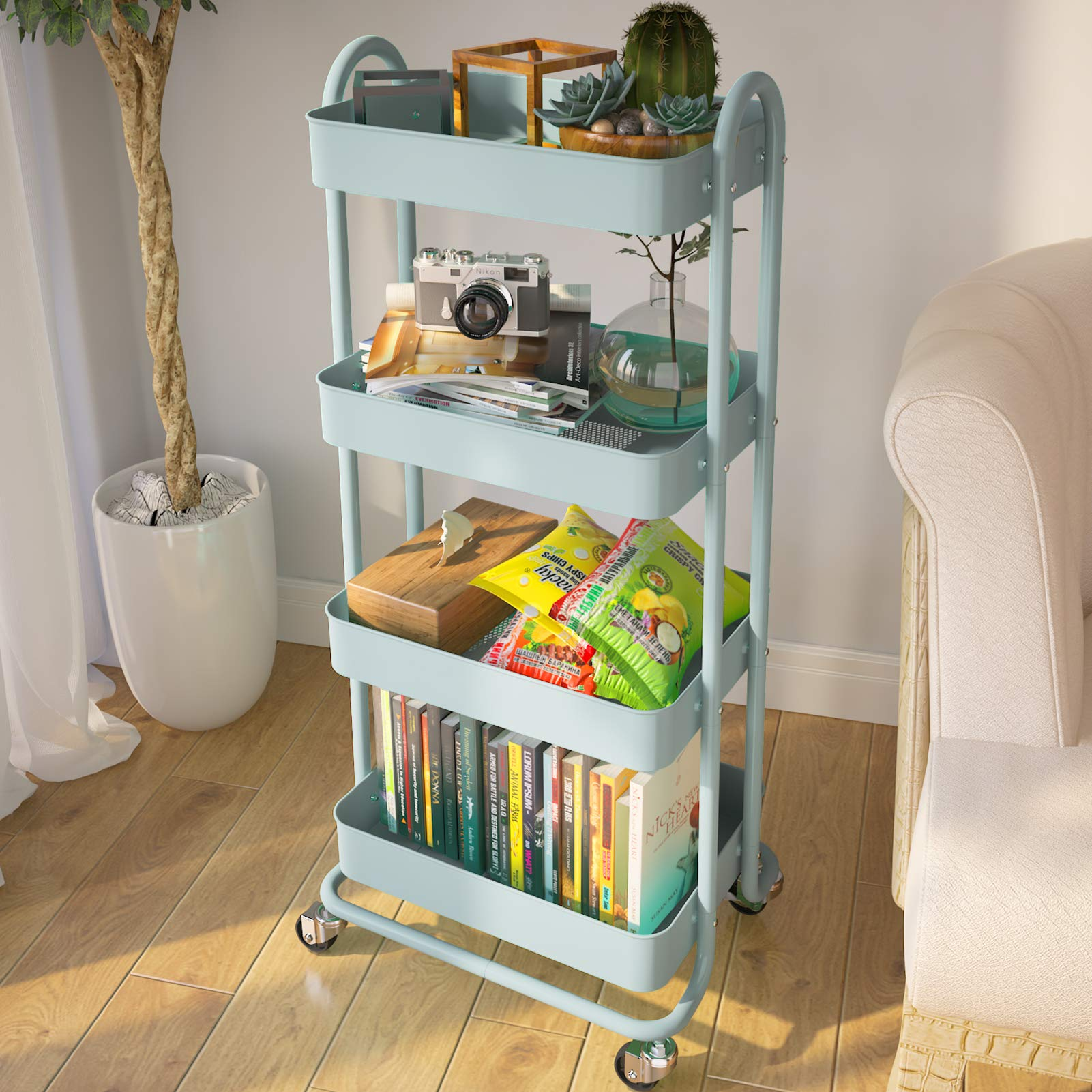 SNTD 4-Tier Rolling Utility Cart with Wheels Storage Shelves Trolley Service Cart for Bathroom Kitchen Office Green
