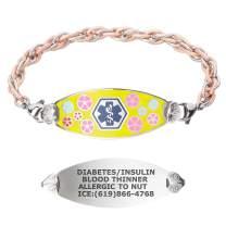 Divoti Custom Engraved Medical Alert Bracelets for Women, Stainless Steel Medical Bracelet, Medical ID Bracelet w/Free Engraving – Color Palette Tag w/Stainless Inter-Mesh Rose Gold/Silver-Blue